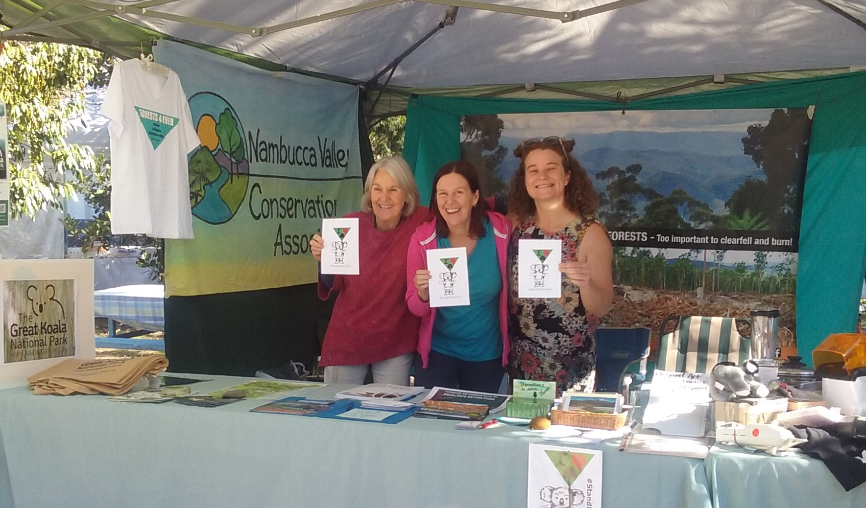 NVCA volunteers running our forest stall at Valla Markets